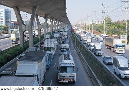Bangkok, Thailand -december 6,2019 : Transport Environmental Pollution, Traffic Jam In Rush Hour In
