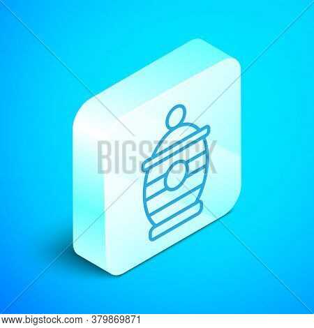 Isometric Line Funeral Urn Icon Isolated On Blue Background. Cremation And Burial Containers, Columb