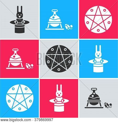 Set Magician Hat And Rabbit, Witch Cauldron And Magic Stone And Pentagram In A Circle Icon. Vector