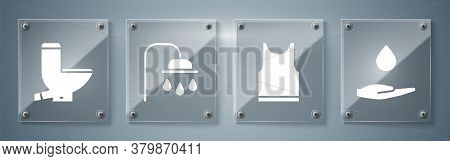 Set Washing Hands With Soap, Sleeveless T-shirt, Shower Head And Toilet Bowl. Square Glass Panels. V