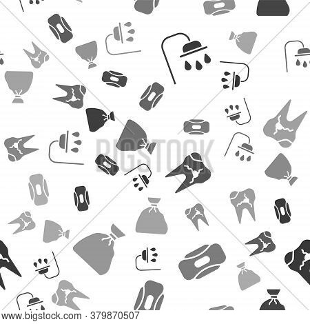 Set Shower Head, Sanitary Napkin, Broken Tooth And Garbage Bag On Seamless Pattern. Vector