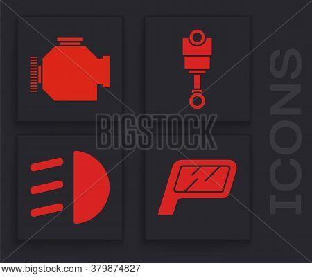 Set Car Mirror, Check Engine, Engine Piston And High Beam Icon. Vector