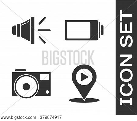 Set Digital Media Play With Location, Speaker Volume, Photo Camera And Battery Charge Level Indicato
