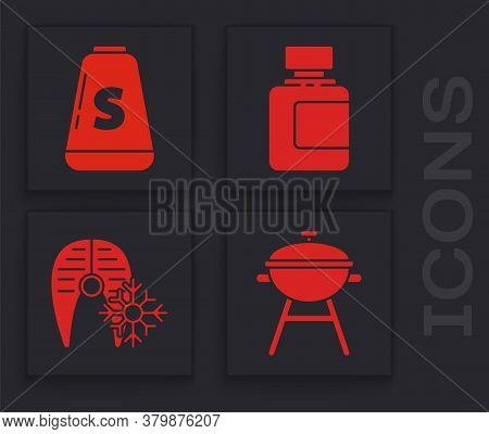 Set Barbecue Grill, Salt, Sauce Bottle And Fresh Frozen Fish Steak Icon. Vector
