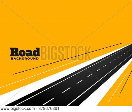 Perspective Road Pathway On Yellow Background Design