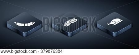 Set Isometric Sausage, Roasted Turkey Or Chicken And Steak Meat Icon. Vector