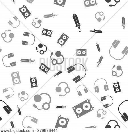 Set Sword For Game, Stereo Speaker, Headphones And Headphones On Seamless Pattern. Vector