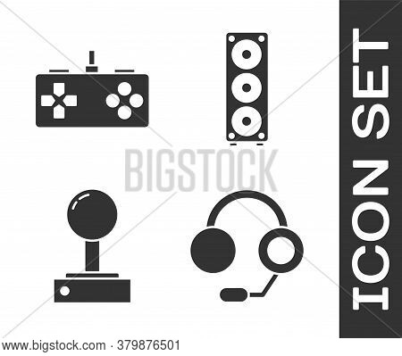 Set Headphones, Gamepad, Joystick For Arcade Machine And Stereo Speaker Icon. Vector