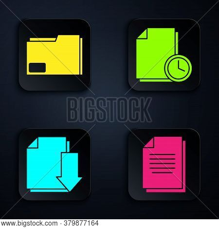 Set Document, Document Folder, Document With Download And Document With Clock. Black Square Button.