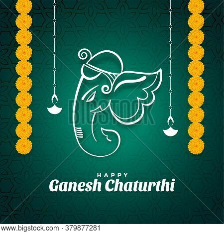 Ganesh Chaturthi Festival Wishes Card With Marigold Flowers