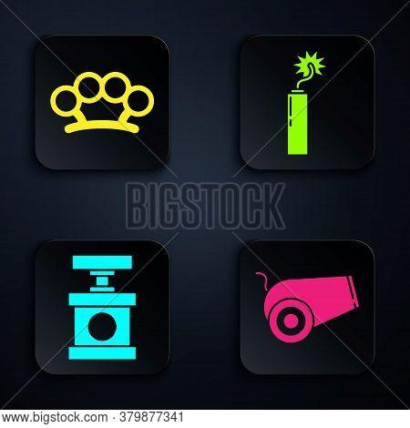 Set Cannon, Brass Knuckles, Handle Detonator For Dynamite And Dynamite Bomb Stick Clock. Black Squar