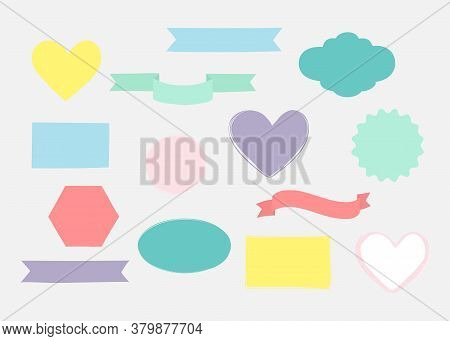 Set Of Hand Drawn Shapes In Different Colour. Hearts, Banners, Circles And Ribbons Etc. Hand Drawn V