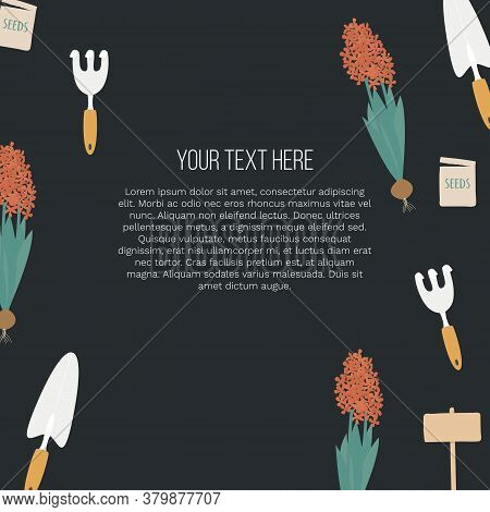 Banner With Garden Tools And Place For Your Text On Black Background. Vector Illustration Eps 10. Te