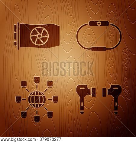 Set Air Headphones, Video Graphic Card, Social Network And Smartwatch On Wooden Background. Vector