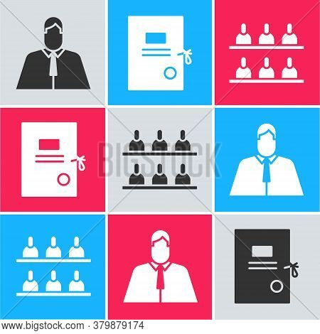 Set Lawyer, Attorney, Jurist, Lawsuit Paper And Jurors Icon. Vector