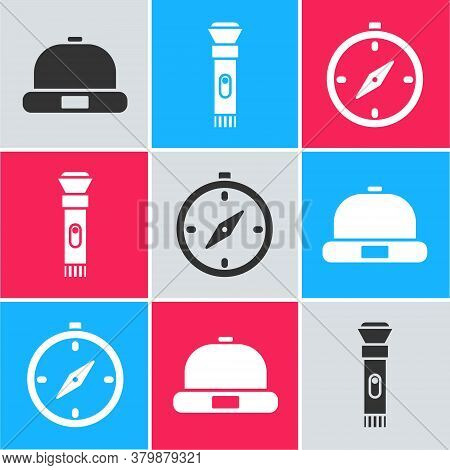 Set Beanie Hat, Flashlight And Compass Icon. Vector