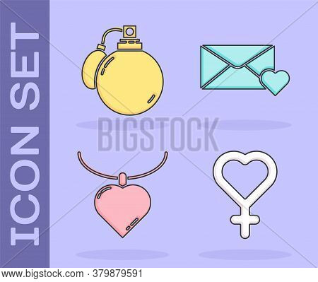 Set Female Gender Symbol, Perfume, Necklace With Heart Shaped Pendant And Envelope With 8 March Icon
