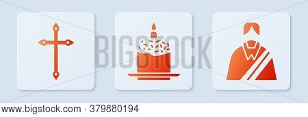 Set Easter Cake And Candle, Christian Cross And Jesus Christ. White Square Button. Vector
