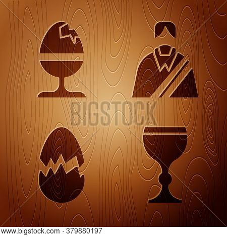 Set Wine Glass, Chicken Egg On A Stand, Broken Egg And Jesus Christ On Wooden Background. Vector