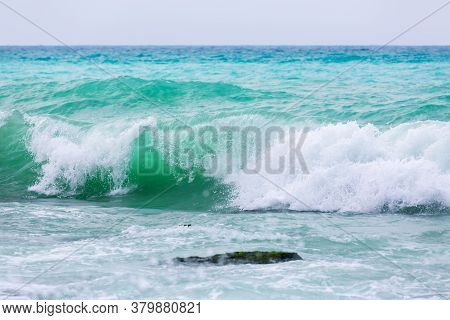 Amazing Turquoise Waves And White Foam. Waves Crashing On The Coast Of Lebanon. Blue Sea Water. A Vi
