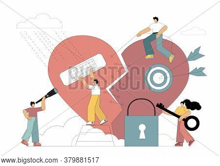 Vector Illustration Of A Broken Heart. People Repair Their Hearts, Grief, Breakdowns, Loneliness, Re