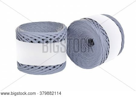 Two Skeins Of Gray Color Elastic Knitted Cotton Yarn For Crochet. Roll With Mockup Label Layout On W