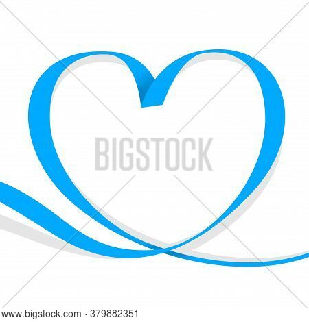 Ribbon Light Blue Heart Shape Isolated On White, Ribbon Line Blue Heart-shaped, Heart Shape Ribbon S