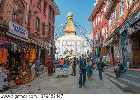 Kathmandu, Nepal : October-17-2018 : The Entrance Way To Boudhanath Stupa The Largest Stupas In The