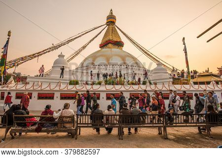 Kathmandu, Nepal : October-17-2018 : Tibetan And Nepali People Walking And Praying Around The Base O