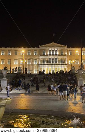 Athens, Greece - August 12 2016: Night View Of Syntagma Square And House Of Parliament In Athens