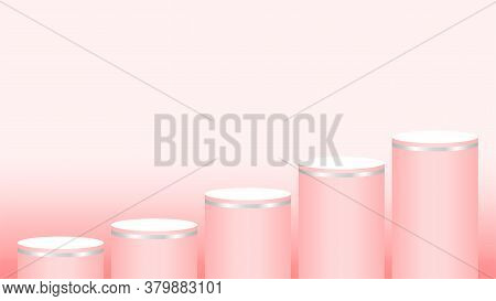 Pink Pedestal Cylinder Circle 5 Steps For Cosmetics Showcase, Podium Circle Stage Pink Red Soft Past