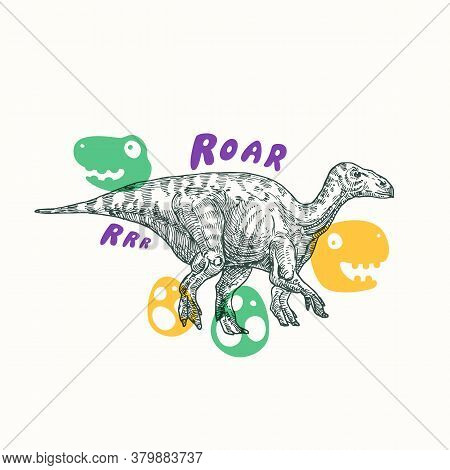Prehistoric Dinosaur Abstract Sign, Symbol Or Card Template. Hand Drawn Iguanodon Reptile With Funny