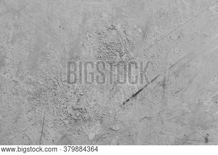 Close-up Of White Cement Wall Peeled Paint Caused By Water And Sunlight. Peel Wall Of White House Pa