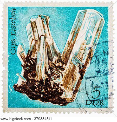 Gdr- Circa 1972: Stamp Printed In German Democratic Republic East Germany Shows Semiprecious Stone G