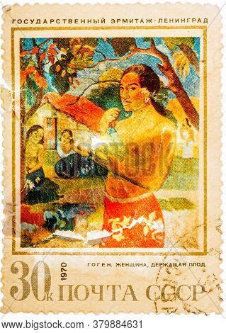 Ussr - Circa 1970: Stamp Printed In The Ussr Shows Woman With Fruit, By Gauguin, Circa 1970