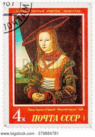 Ussr - Circa 1987: A Stamp Printed In Ussr Russia Shows A Painting Portrait Of A Woman By Cranach Wi