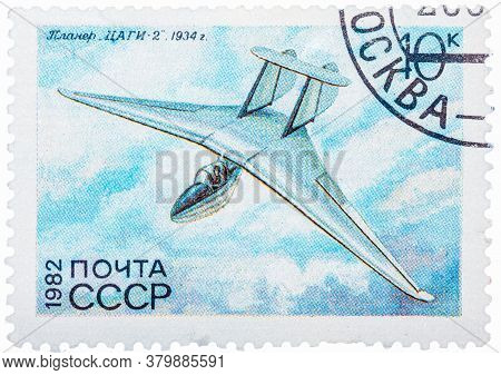Ussr - Circa 1982: A Stamp Printed In Ussr Russia Shows The Glider With The Inscription Tsagi-2, 193