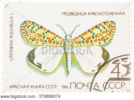 Ussr - Circa 1986: A Stamp Printed In Ussr, Shows Butterfly Utetheisa Pretty Utetheisa Pulchella , F