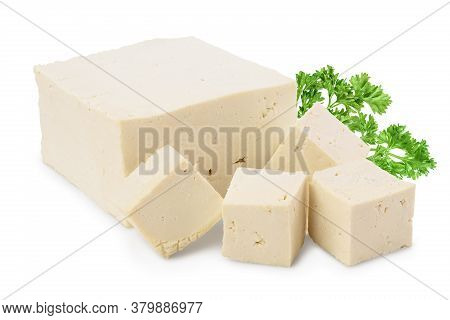 Heap Of Diced Tofu Cheese Isolated On White Background With Clipping Path And Full Depth Of Field,