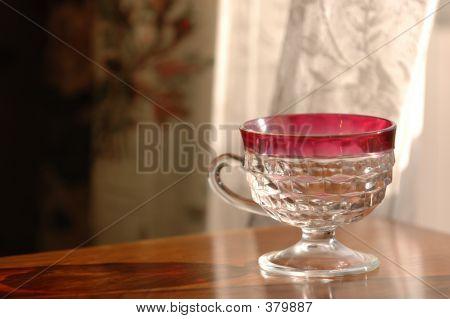 Red Rim Punch Glass
