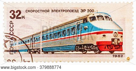 Ussr - Circa 1982: A Stamp Printed In The Ussr Russia Showing Locomotive With The Inscription High-s