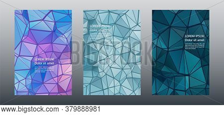 Triangles Puzzle Geometric Cover Page Mockups Vector Set. Financial Brochure Front Pages. Triangles
