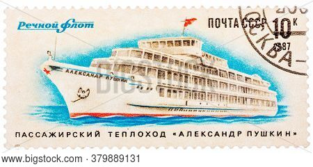 Ussr - Circa 1987: A Stamp Printed In Ussr Shows The Passenger Ship Alexander Pushkin , Circa 1987