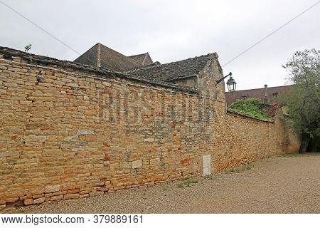 Extermnal Ancient City Walls Of Beaune, France