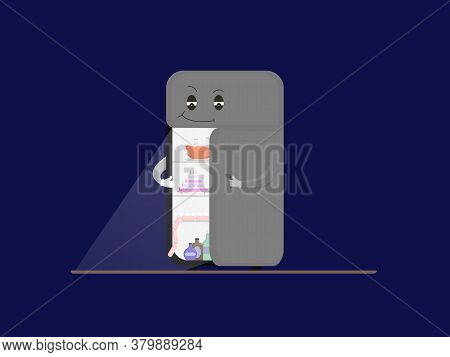 Cartoon Illustration Of A Refrigerator At Night, Offering To Eat At Night, Cunningly Opening The Doo