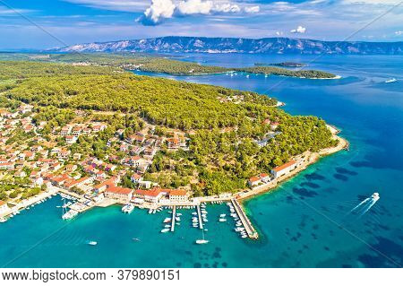 Town Of Jelsa Bay And Waterfront Aerial View, Hvar Island, Dalmatia Archipelago Of Croatia