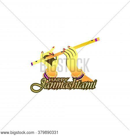 Vector Illustration Of Shri Krishna Janmashtami Means Birthday Of Lord Krishna. Musical Instrument B