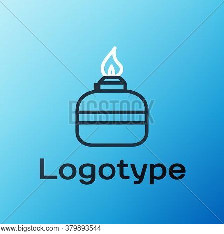Line Alcohol Or Spirit Burner Icon Isolated On Blue Background. Chemical Equipment. Colorful Outline