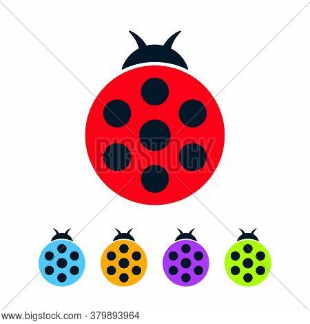 Colorful Ladybugs With Wings Closed On White Background. Round Bugs Vector Flat Icon Set.