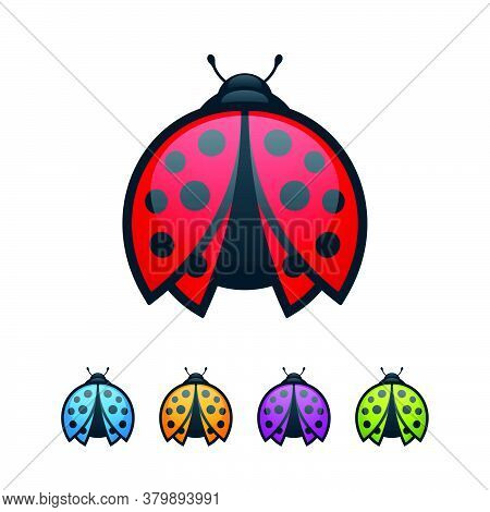 Colorful Ladybugs With Open Wings On White Background. Abstract Bugs Icon Set.